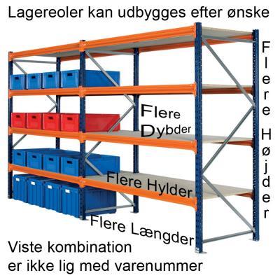 Lagerreol L:225xD:120xH:250cm 3 hylder
