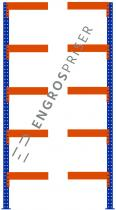 Lagerreol L:95xD:50xH:250cm 5 hylder