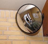 Spejl konveks 75cm rund sort